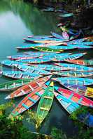 Colorful tour boats