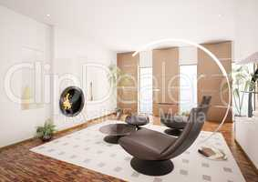 Modern living room interior with fireplace 3d render