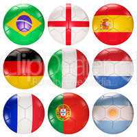 Soccer balls flags of top ranked countries 3d