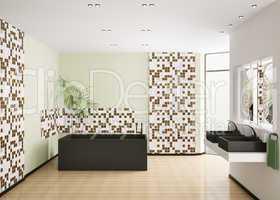 Interior of modern bathroom 3d render