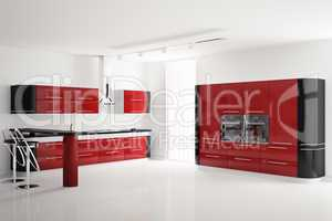 Interior of modern red black kitchen 3d