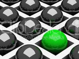 Abstract background with chrome black and green balls