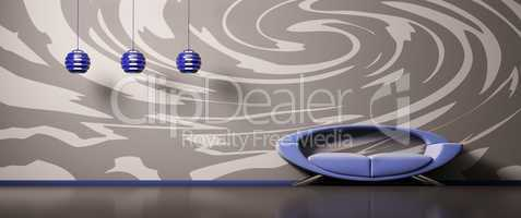 Interior with blue sofa 3d