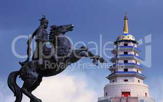 Statue of Mongolian saber and a Pagoda