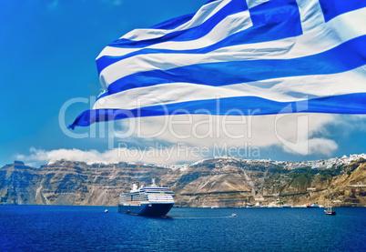 Greek Flag in front of Santorini