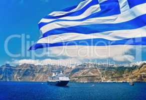 Greek Flag in front of Santorini