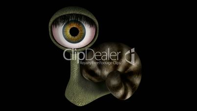 Funny Fantasy Character Spinning Head 04. Looping. Alpha Matte