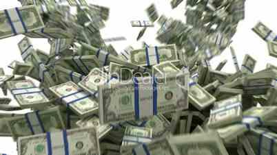 US dollar bundles flow with slow motion