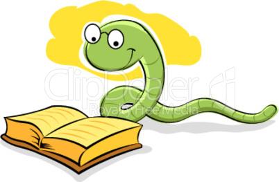 Schlange liest ein Buch