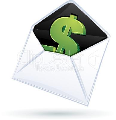 Dollarzeichen im Briefumschlag