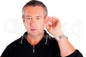 Mann hört schlecht und lauscht 600