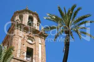 The baroque Santiago church tower bell, Cadiz, Spain