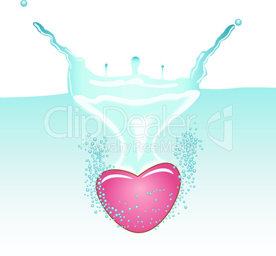 Heart falling in to the water