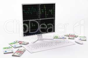 White LCD,keyboard,mouse, dollars and euros 3d