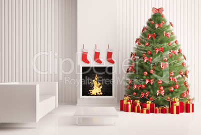 Interior with Christmas tree and fireplace 3d render