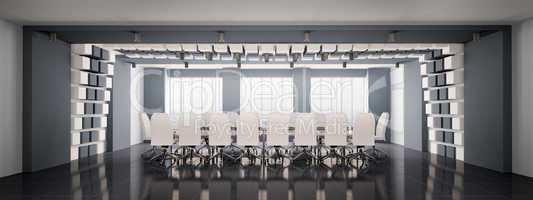 Modern boardroom interior panorama 3d