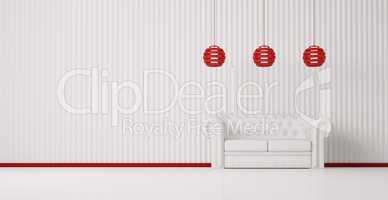 White sofa in white room 3d