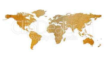 Weltkarte - braun strukturiert, freigestellt (isolated world map)