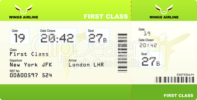 plane tickets first class green