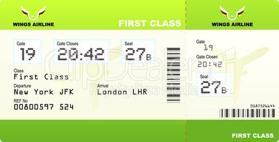 plane tickets first class green