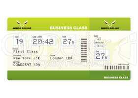 plane tickets business class green