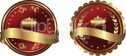 Illustration two red gold-framed labels