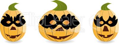 Gang of pumpkins dressed in masks