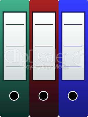 Three office folders