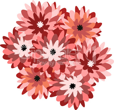 Illustration a bunch of flowers aster