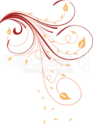 Autumn floral ornament with leaves