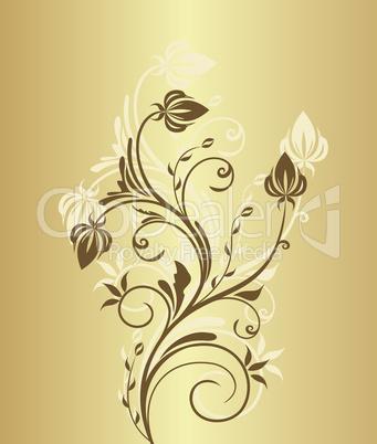 Illustration of gold floral vintage background