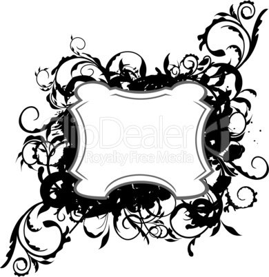Illustration the floral black decor element for design