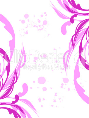 Illustration spring grunge flower and  leaf