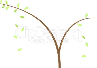 Concept illustration of branch at green leaf