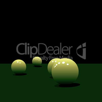 Glossy pool balls on the green velvet