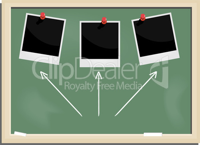 Realistic illustration school blackboard with marked photo frame