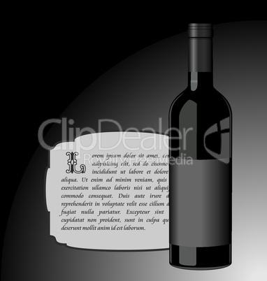 Illustration the elite wine bottle with black blank label
