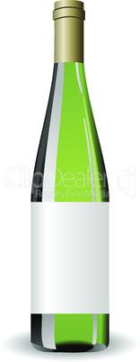 Illustration white wine bottle with label