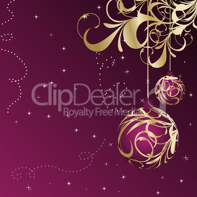 Elegant christmas floral background with balls
