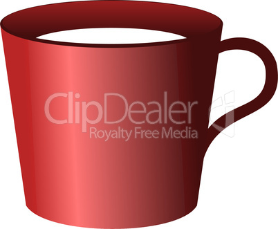 Realistic illustration of red cup isolated on white background