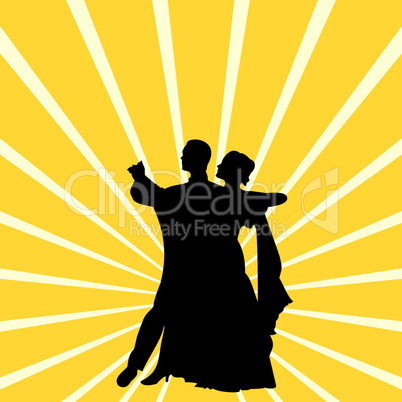 Silhouette a couple dancing waltz
