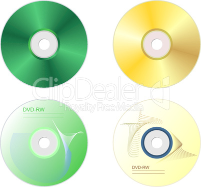 Realistic illustration set DVD disk with both sides