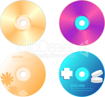 Realistic illustration set DVD disk