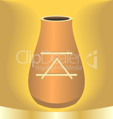Illustration ancient jug with symbol