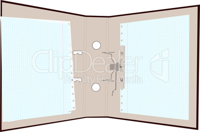 Realistic illustration of open folder with page in cage