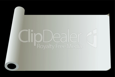 Developed roll of  paper isolated on  black background