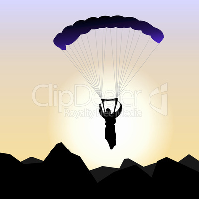 Realistic illustration parachutist of sunrise