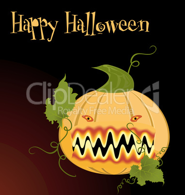 Illustration the orange halloween pumpkin