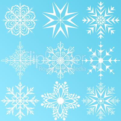 set variation snowflakes isolated