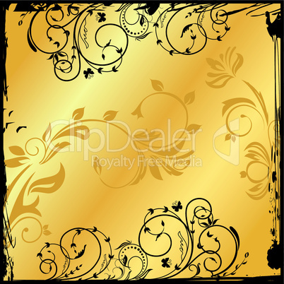 gold floral square